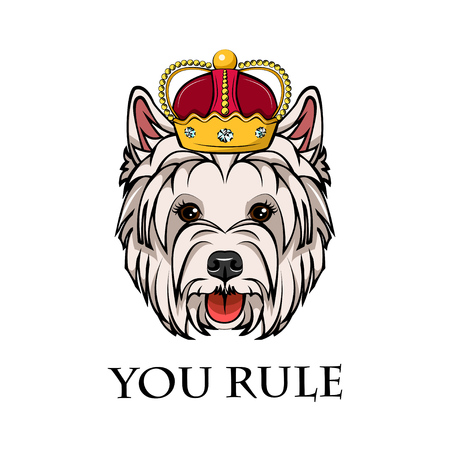 West highland white terrier king. Dog portrait with crown with you rule text vector illustration.
