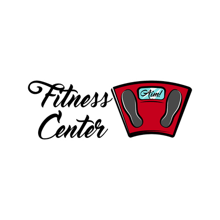 Bathroom scale icon, fitness center emblem label icon. Weight loss motivation vector illustration.