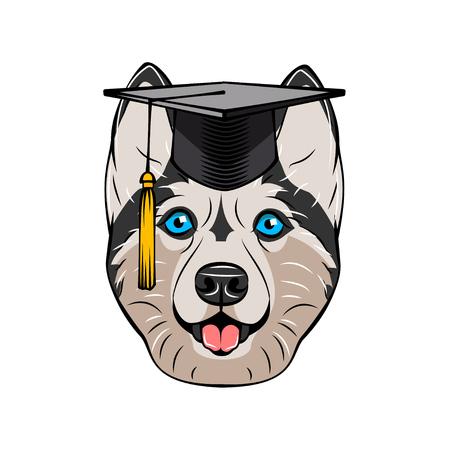 Siberian Husky graduate portrait. Graduations hat cap. Smiling dog. Vector illustration Ilustração