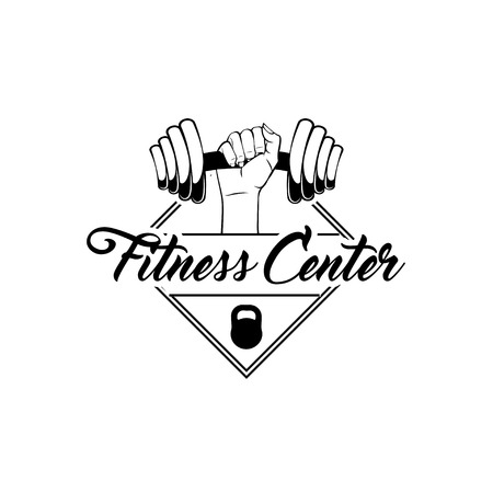 Dumbbell, hand, Kettlebell Fitness center logo label embelm. Fitness motivation poster. Sport equipment. Vector illustration Vectores