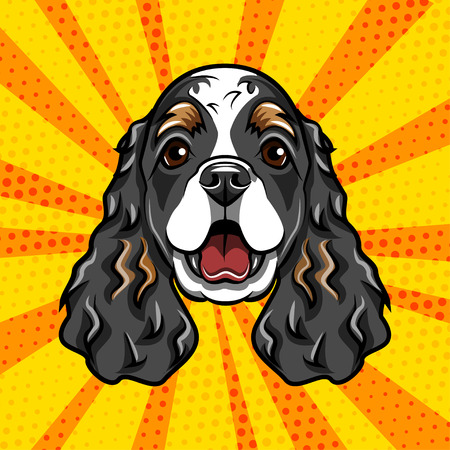 English Cocker Spaniel dog portrait. Dog muzzle, head, face. Colorful background. Vector illustration Ilustrace