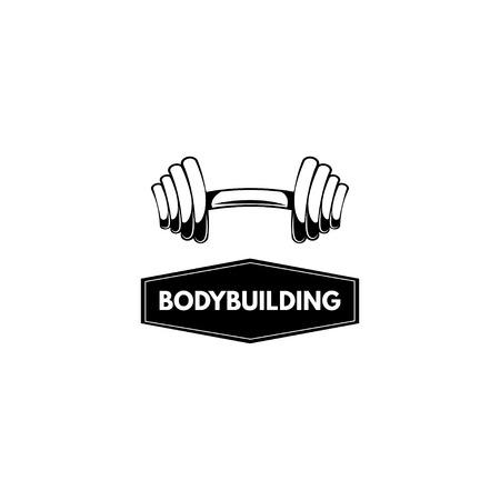 Barbell icon, Barbell. Bodybuilding logo label emblem. Sport sign. Vector illustration Illustration