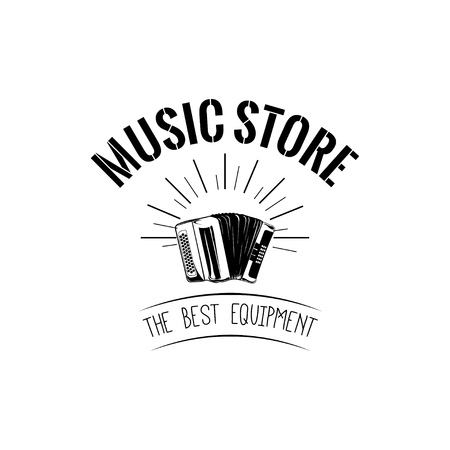 Classical bayan (accordion). usic store label, music shop logo. Musical instrument icon. Vector illustration