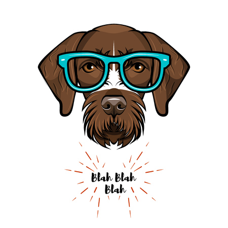German short haired pointer nerd. Smart glasses. Dog geek. Clever dog portrait. Vector illustration