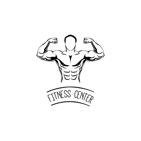 Sportsman silhouette character. Ditness center logo label emblem. Sport Fitness club creative concept. Power strength man icon. Bodybuilder. Vector illustration Vettoriali