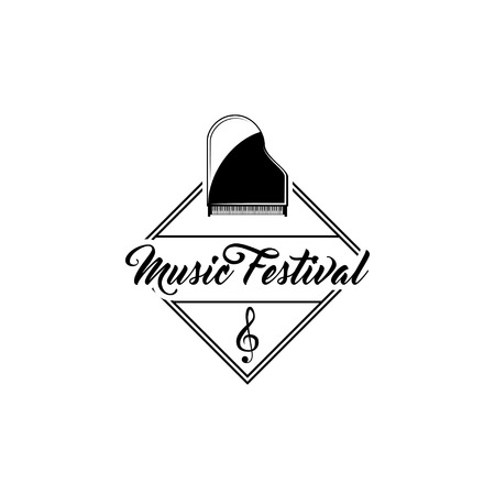 Classical grand piano. Music festival logo emblem label. Treble clef sign. Musical instrument. Vector illustration