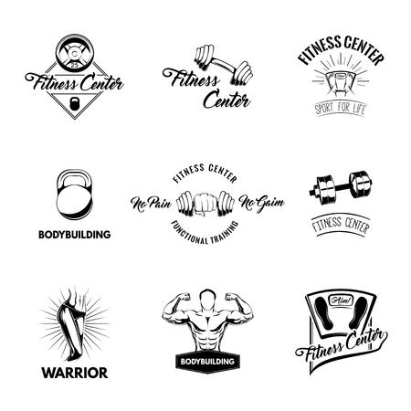 Sport icon set. Fitness equipent. Bodybuilding, Training. Floor scale, Barbell disk, Dumbbell. Design elements. Vector illustration
