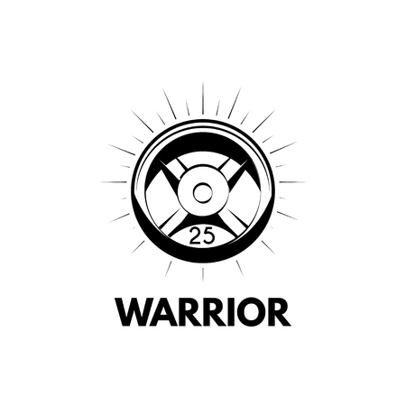 Barbell disk icon. Sport equipment. Barbell weight. Warrior lettering. Vector illustration