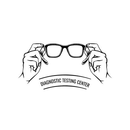 Glasses. Hand. Oculist label logo. Eyeglasses icon. Diagnostic testing center lettering. Vector illustration