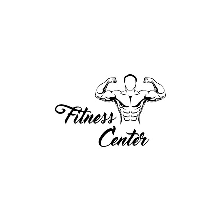 Bodybuilder. Fitness center Logo Template. Sportsman, Muscular man. Vector illustration