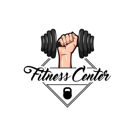 Dumbbell, Kettlebell badges. Fitness center logo label design. Hand holding dumbbell. Vector illustration Illustration