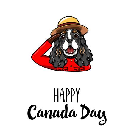 English Cocker Spaniel. Happy Canada day greeting card.