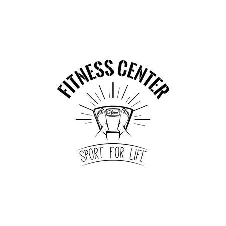 Floor scales icon. Fitness center badge.