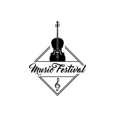 Violin emblem. Musical instrument. Vector illustration