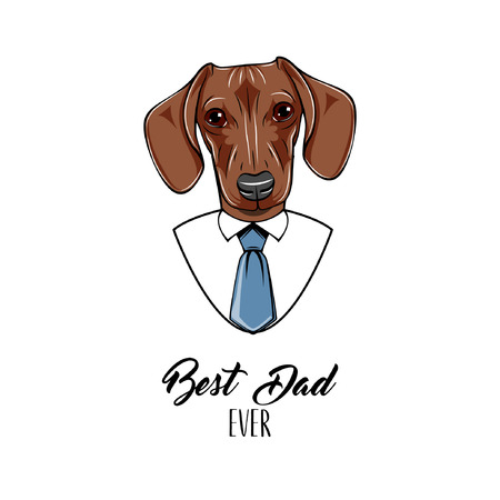 Dachshund dog. Fathers day greeting card. Dachshund wearing in shirt, Necktie. Best dad ever lettering. Dad gift. Vector illustration