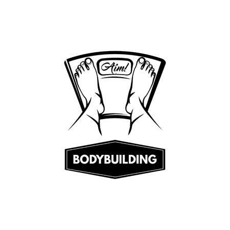 Floor scale. Feet. Bodybuilding lettering. Fitness badge.