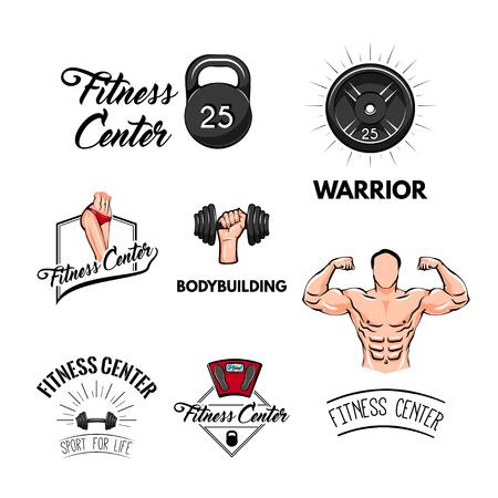 Fitness labels set. Kettlebell, Athletic body, Dumbbell, Barbell disk. Sport badges. Bodybuilding label set. Training center logo. Gym icons. Vector illustration.