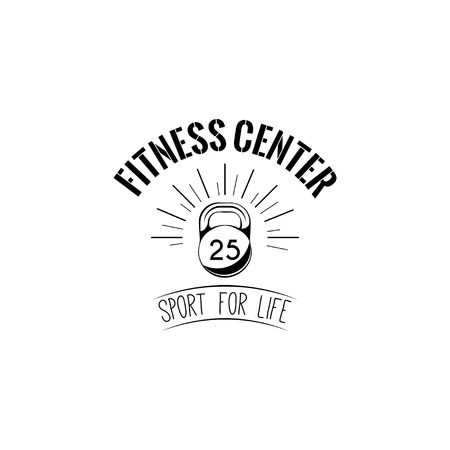 Kettlebell icon. Fitness center logo label emblem. Sport sign. Sport for life lettiring. Vector illustration. Illustration