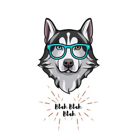 Siberian Husky geek. Smart glasses. Dog nerd. Husky portrait. Vector illustration.