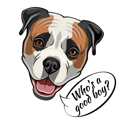 Dogs head with Whos a good boy text vector illustration