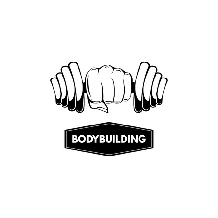 Dumbbell. Fist. Bodybuilding logo label badge. Hand holding dumbbell. Sport sign. Vector illustration.