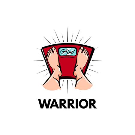 Weighting scale. Feet. Weight loss motivation. Sport club logo emblem. Warrior inscription. Feet on weighing scales. Vector illustration. Illustration