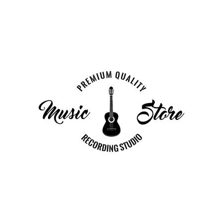 Guitar icon, music store emblem badge, musical instrument. Premium quality lettering, recording studio label vector illustration.