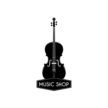 Violin icon, music shop label badge. Classical music, musical instrument vector illustration.