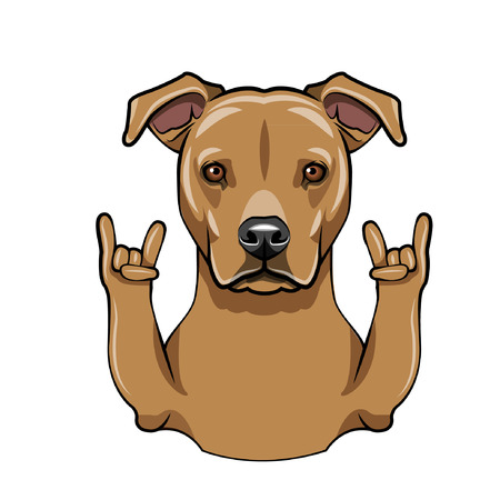 Staffordshire Terrier dog. Middle finger gesture. Staffordshire Terrier portrait. Dog breed. Vector illustration. Çizim