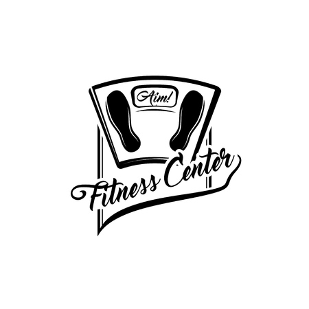 Bathroom scale. Fitness center badge logo emblem. Weight loss motivation. Weight scale. Vector illustration.