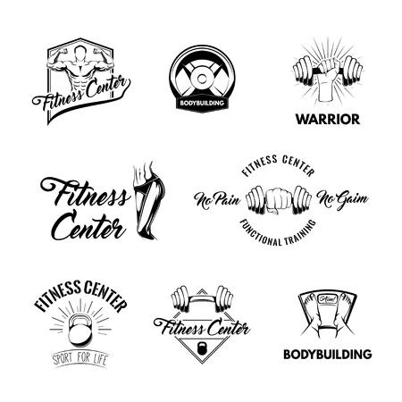 Fitness badges logos set. Vector illustration.