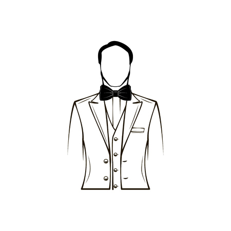 Mans silhouette. Wedding mens suit, tuxedo. Bow tie. Groom. Design element. Vector illustration.