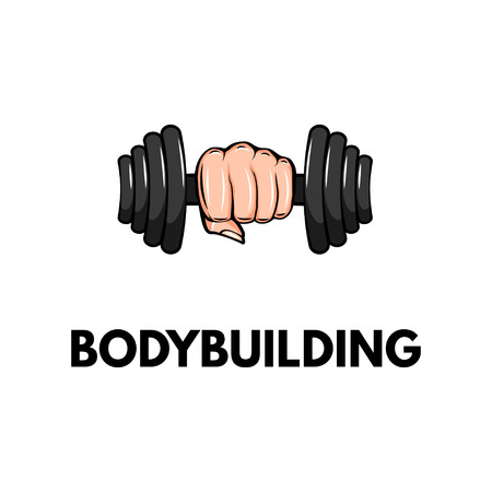 Dumbbell icon, hand. Bodybuilding logo label badge. Fist holding weight. Vector illustration Illustration