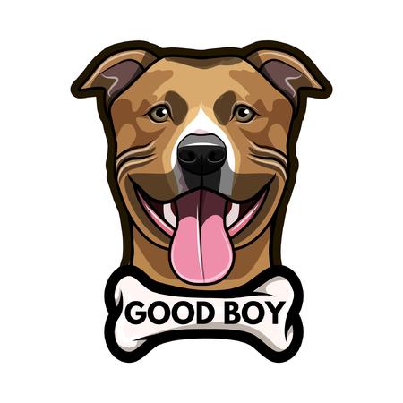 Staffordshire Terrier dog with Bone and Good boy inscription. 向量圖像