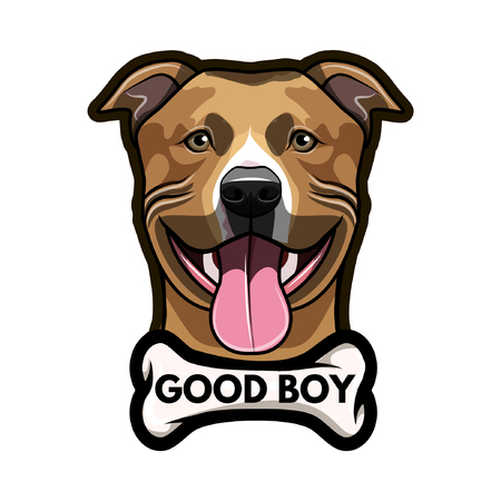 Staffordshire Terrier dog with Bone and Good boy inscription. Illustration