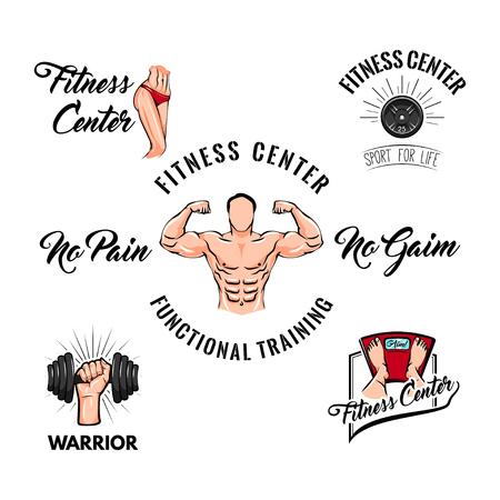 Fitness center labels logos set. Sport badges.