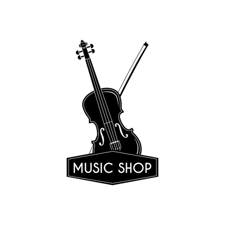 Violin. Bow. Music shop. Musical store label logo. Musical instrument. Vector illustration.