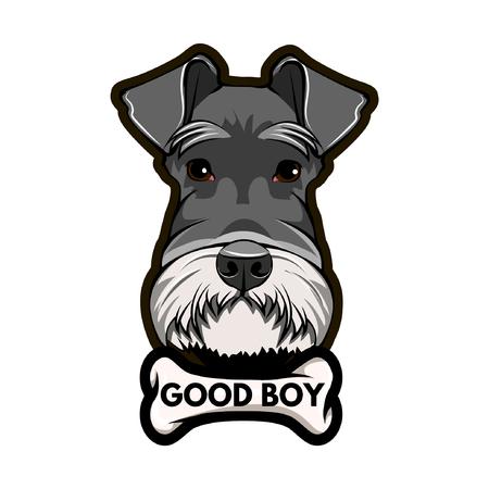 Schnauzer Dog Portrait. Bone. Good boy inscription. Schnauzer breed. Vector illustration.