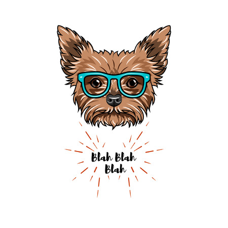 Yorkshire terrier nerd. Smart glasses. Dog geek. Yorkshire terrier portrait. Vector illustration. Иллюстрация