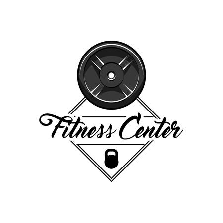 Disk weight barbell. Fitness center logo label. Sport badge. Vector illustration.