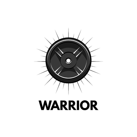Fitness badge. Disk weight, barbell disk. Bodybuiding, Sport for life inscriptions. Sport icon Vector illustration.