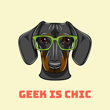 Dachshund geek. Smart glasses. Dog nerd. Geek is chic. Vector illustration