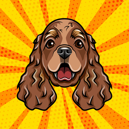 Cocker Spaniel dog portrait. Spaniel breed. Vector illustration.