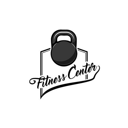 Kettlebell Icon. Fitness center label logo badge. Sport equipment. Vector illustration.