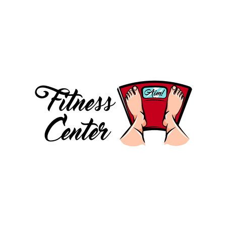 Bathroom scale icon. Feet. Fitness center logo label badge. Vector illustration.