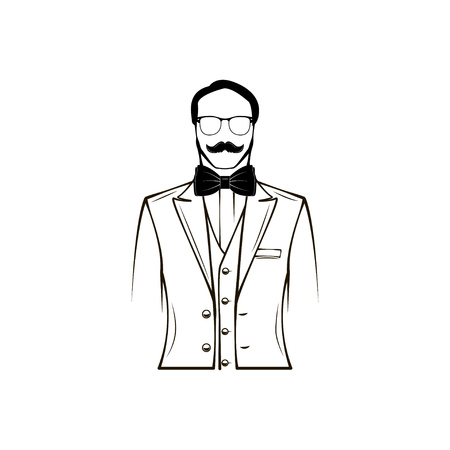 Male silhouette. Groom. Fathers day, Wedding card design element. Glasses, Bow tie, Accessory. Vector illustration.