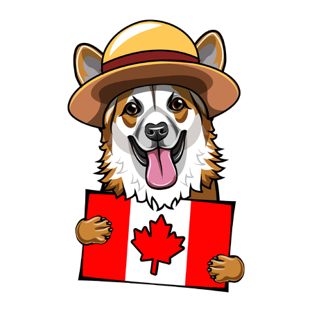 Corgi dog. Canadian flag. Happy Canada day greeting card. Dachshund wearing in form of the Royal Canadian Mounted Police.