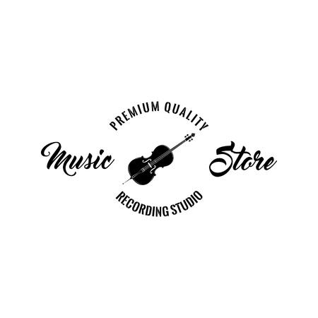 Violin icon. Music storelabel logo emblem. Musical instrument Symbol. Premium quality. Vector illustration.