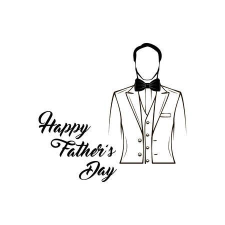 Happy Fathers day lettering with man in a suit. Vector illustration.