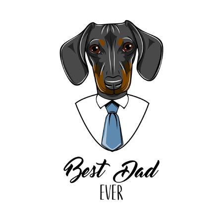 Dachshund dog. Fathers day greeting card. Best dad ever text. Cute dog portrait.